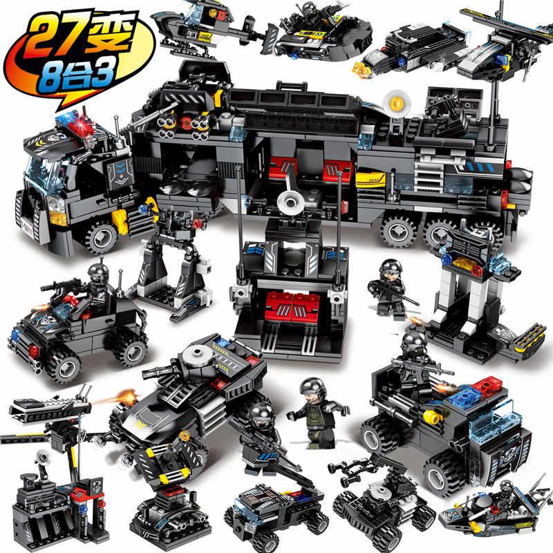 8 шт./лот LegoINGs SWAT городской полицейский грузовик строительные блоки наборы корабль вертолет автомобиль кубики для творчества Playmobil игрушки для детей