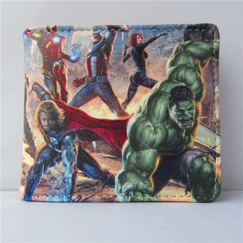 American Movie The Avengers Folding Wallet/Hulk, Captain America, Iron Man, Thor High Quality Short PU Purse movie the dark knight the joker high quality pu short bloody wallet monochrome purse with button