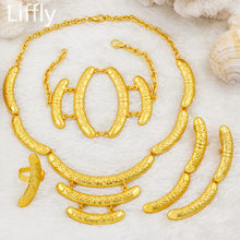 2019 New Fashion 24 Gold Dubai Luxury Necklace Ring Bracelet Bridal Jewelry Accessories Gifts Women Party Sets Jewelry(China)