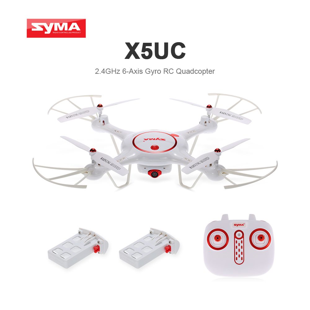 New Syma Drone X5UC RC Quadcopter 2.4G 4CH Hover Function Headless Mode, 2.0MP HD Camera, X5C Upgraded New Version-white syma x5 x5c x5c 1 explorers new version without camera transmitter bnf