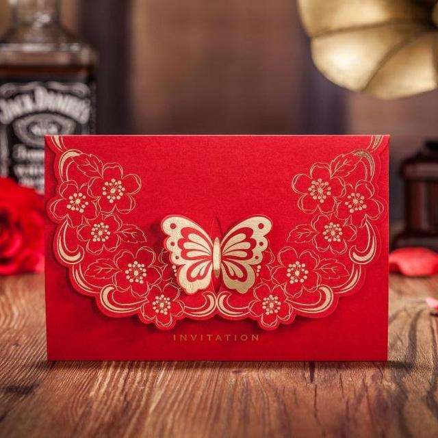 Cw5520 red 3d butterfly laser cut wedding invitation card european cw5520 red 3d butterfly laser cut wedding invitation card european style customized printing greeting card stopboris Image collections