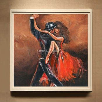 Skills Artist Hand-painted High Quality Abstract Dancer Tango Dancing Oil Painting On Canvas Handmade Tango Dancing Oil Painting
