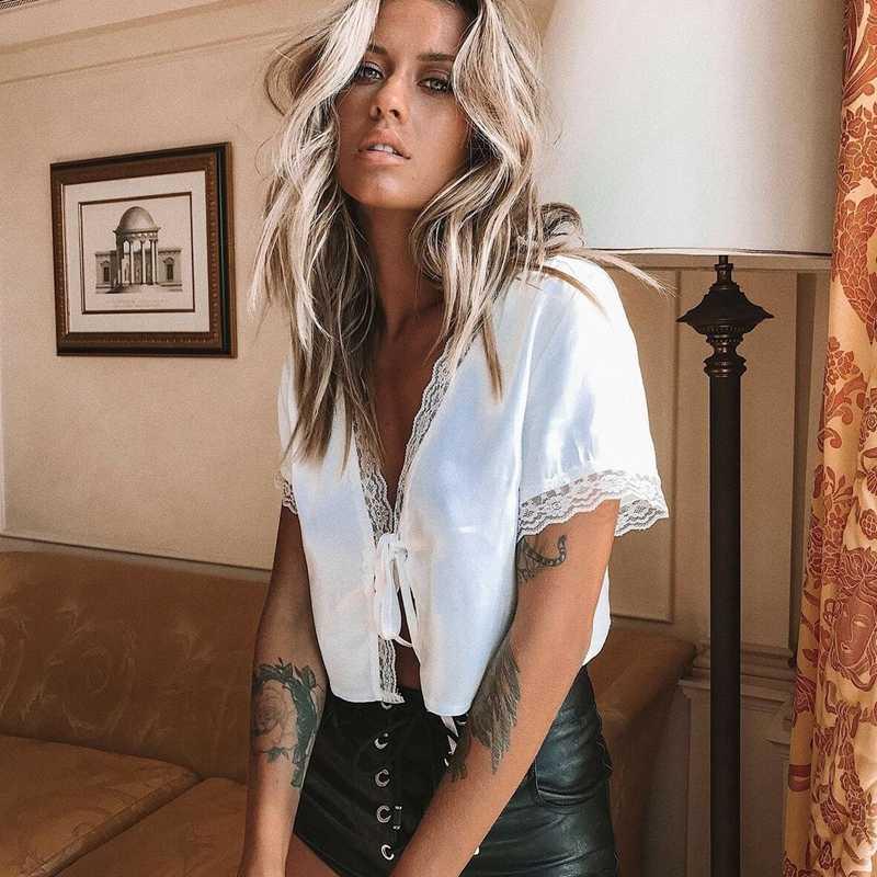 Kasual Wanita Fashion Renda Satin Sutra Patchwork Lengan Pendek V Neck Crop Top Kemeja Blus Atasan