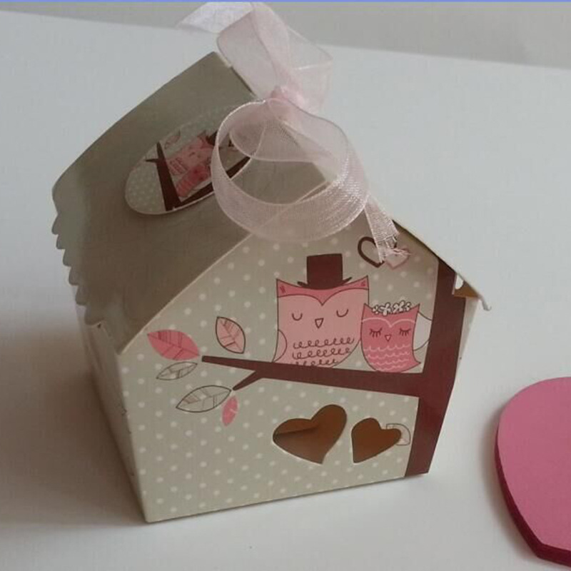 50pcs/lot Beautiful Mini Bird House Wedding Candy Box With Pink Ribbon Creative Sweet Heart Paper Candy Box Party Gift Box