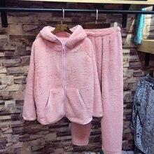 2018 Autumn Winter New Tracksuit Pajamas Women Hooded Zipper Section Flannel Pyjamas Warm Sleepwear Female Pajamas Set