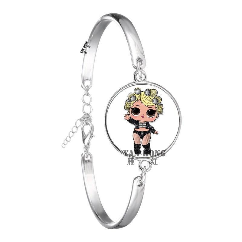 Красивый кукольный стеклянный браслет 20 мм стеклянный купол мультфильм ювелирные изделия круглый стеклянный браслет детский очаровательный подарок - Окраска металла: 24
