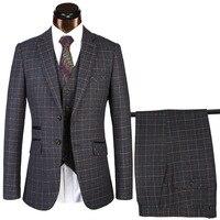 (Coat + Pants + Vest) Classic Merchant Dress Up West Slim Royal Grey Wedding Groom Dress Set Male Black Gentleman Set S 4XL