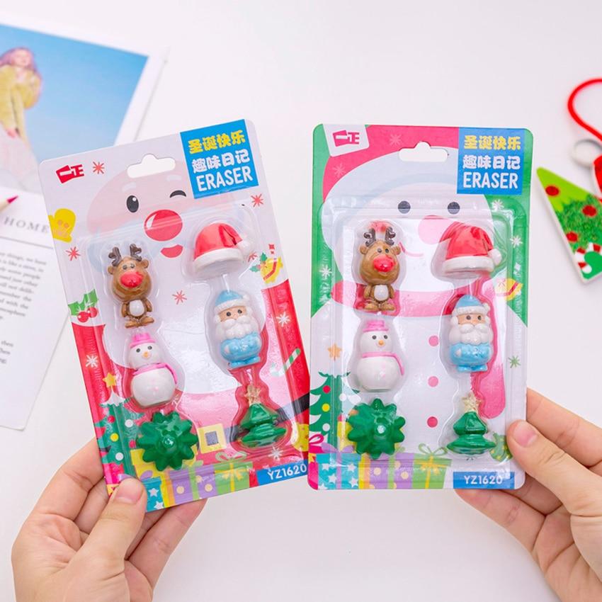 6PCS/Set Christmas Gift Eraser Set Creative Santa Claus Christmas Tree Pencil Eraser Cartoon 3D Assembled Toys For Kids Gift