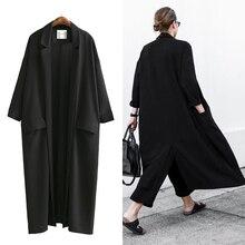 [AZURE SHEN] Autumn Loose Women's Windbreaker 2017 Spring Casual Turn-down Collar Pockets Black Coat Jacket Female Outwear U370
