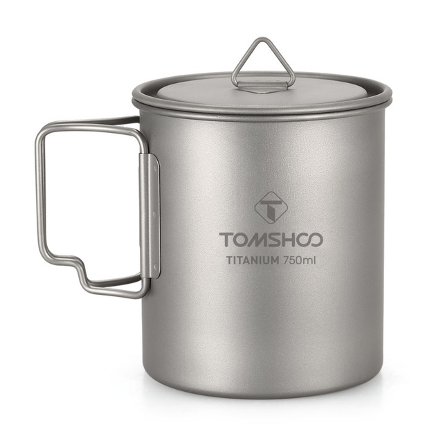 d710e80119a TOMSHOO 750ml Titanium Cup Mug Outdoor Portable Camping Picnic Water Cup Mug  with Foldable Handle Ultralight