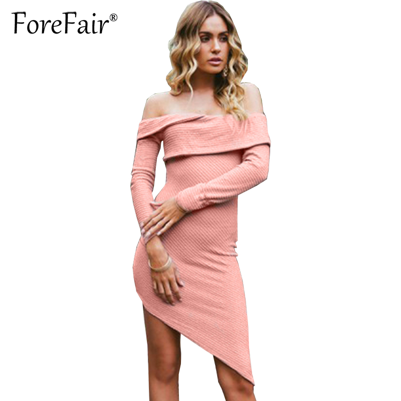Forefair Sexy High-Low Bodycon Dress 2017 Autumn Winter Women Knitted Dress Slash Neck Long Sleeve Backless Party Dresses forefair fashion slim knitted party dresses women clothing 2018 spring long sleeve sexy criss cross v neck bodycon dress vestido