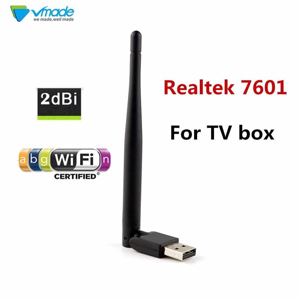 Usb wifi adaptador 2db antena de televisão 150 mbps lan placa de rede sem fio em um portátil usb 7601 chip para quadros de janela 7/8/xp