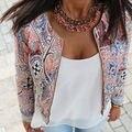 Мода Женщин шею короткий параграф печатных простая застежка-молния пальто Куртки И Пиджаки