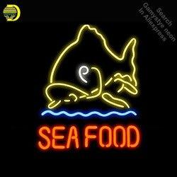 Neony na owoce morza  ryby znak światła Neon ręcznie restauracja Neon żarówki szklana rurka udekoruj pokój słoń dropshipping
