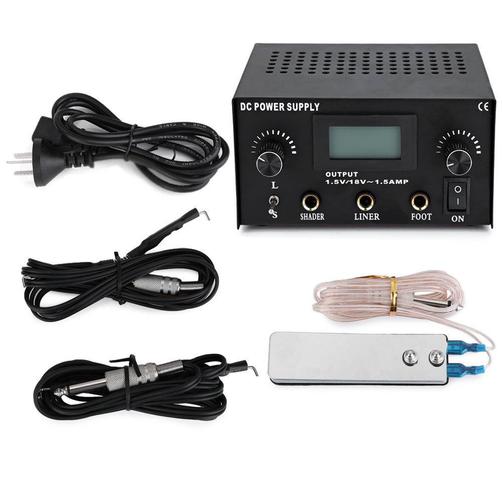ФОТО One Set High Quality Stable Professional body Tattoo Power Supply Classic Digital LCD Dual Machine Foot Pedal Switch 2 Clip Cord