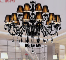 Lampadario moderno breve candela nera di cristallo lampada lampadario sala da pranzo lampade a luce con nero shades vendita diretta della fabbrica