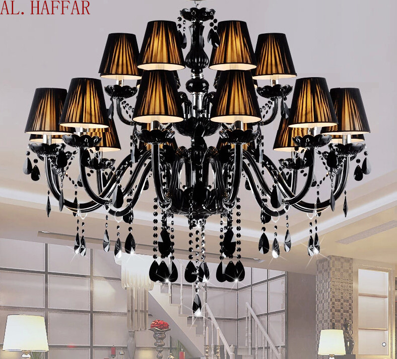 Modern Chandelier brief black candle crystal chandelier lamps dining room light with black lamp shades factory