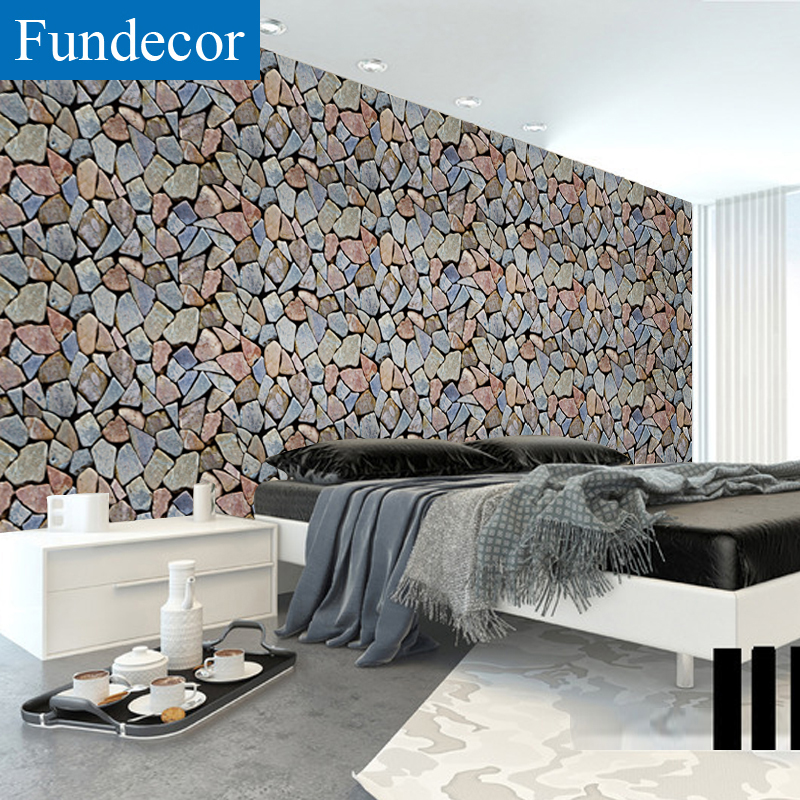 [Fundecor] Irregular Stone Wallpaper Self Adhesive For Living Room Kids Rooms Home Decor 3d Wall Paper Rolls Murals Wall Sticker