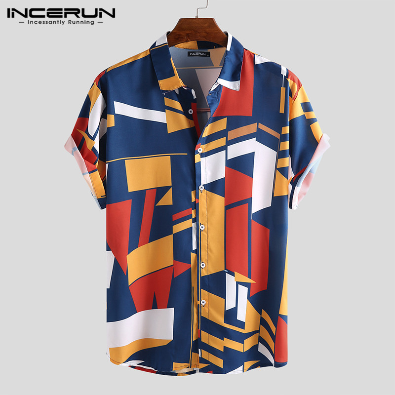 2020 Fashion Shirts Men Camisa Feminina Geometric Cool Print Slim Fit Lapel Shirts Button Tee Chemise Masculina Man Clothing