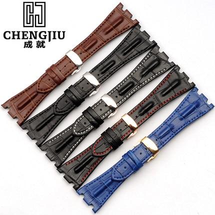 цена на 28 mm Calfskin Leather Strap For Audemars Piguet For Royal Oak Watch Band Strap Bracelet Watches Black Brown Blue Horloge Strap