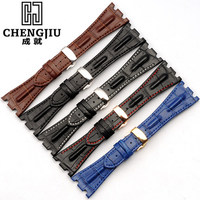 28 Mm Calfskin Leather Strap For Audemars Piguet For Royal Oak Watch Band Strap Bracelet Watches