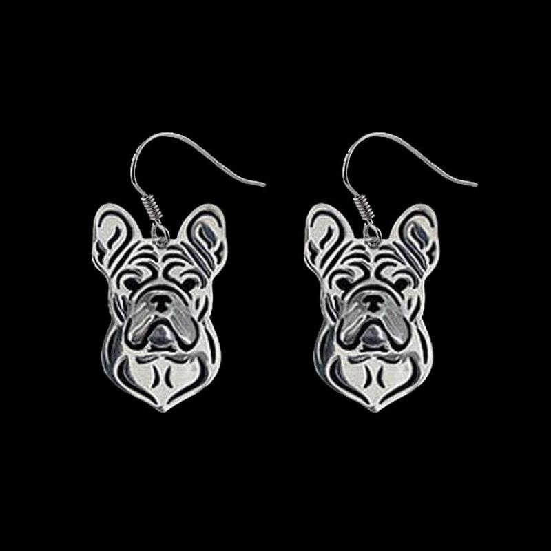 2019 Frauen Französisch Bulldog Hund Ohrringe Dame Metall Hund Anhänger Ohrringe