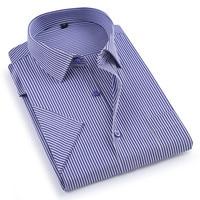 2019 Summer short sleeve turndown collar easy care non-iron regular fit striped / Plaid business men casual shirts Dress Shirts