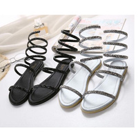2017 Summer Sandals Shoes Woman Sandals Female Rhonestone Snake S Shaped Roman Casual Shoes Flat Beach