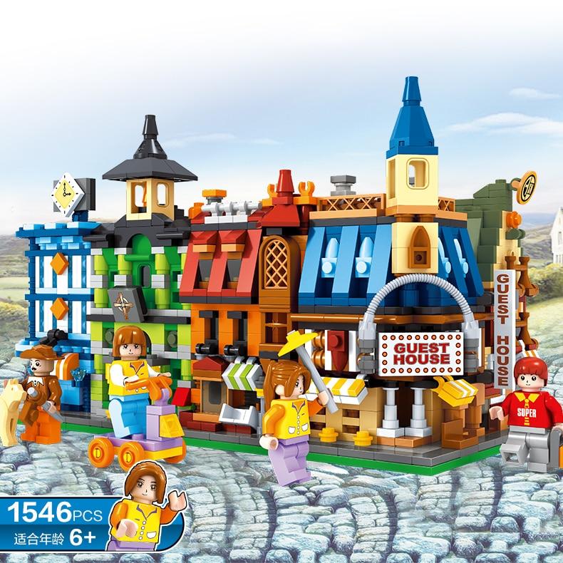 ФОТО New 1546pcs MLOOMEN H25707 MOC Creator City Series The Sunshine Hotel Set Building Blocks Bricks Educational Toys