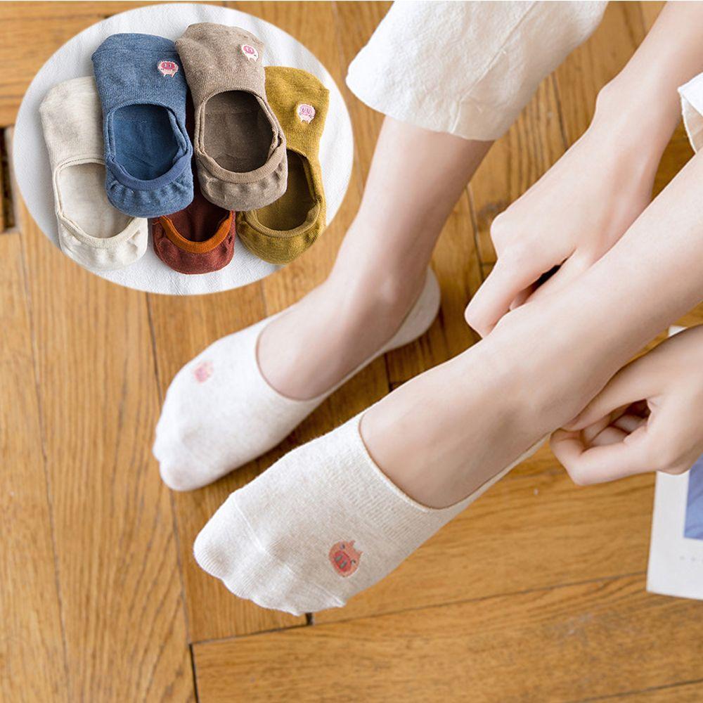 Women Summer Funny Invisible Boat Thin Embroidery Piggy Causal Soft Anti-slipping Cotton Socks Cute Kawayi Girl Short Socks