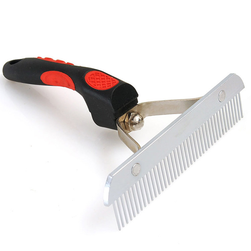 Red Plastic Handle Nail Rake Comb font b Pet b font Grooming Comb Hair Removal Open