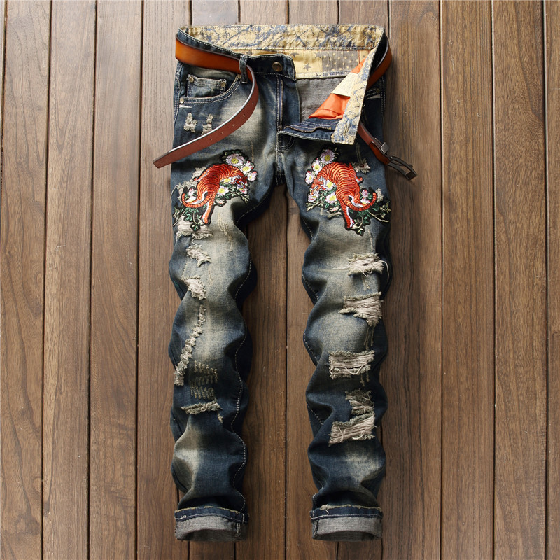 Stylish mens fashion jeans slim straight denim pants patched torn embroidery tiger patchwork black destoryed ripped jeans men
