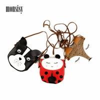 Monsisy 5PCS Children Wallet Kid Coin Purse Girl Handbag Baby Card Bag Cute PU Leather Animal Fox/Dog/Ladybug Boy Shoulder Bag