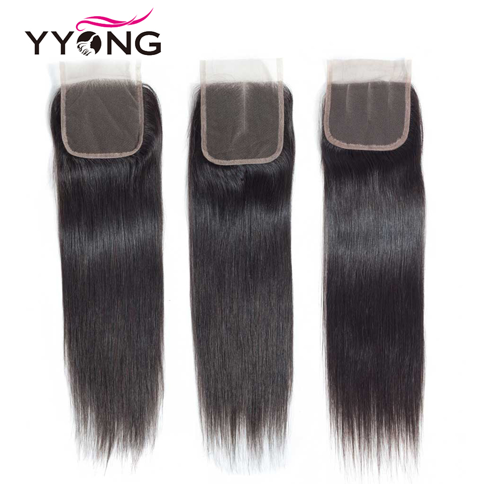 Image 3 - Yyong Brazilian Straight Hair Lace Closure Free/Middle/Three Part 100% Remy Human Hair 4X4 Medium Brown Swiss Lace Top Closure-in Closures from Hair Extensions & Wigs