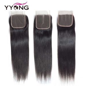 Image 3 - Yyong Brazilian Straight Hair Lace Closure Free/Middle/Three Part 100% Remy Human Hair 4X4 Medium Brown Swiss Lace Top Closure