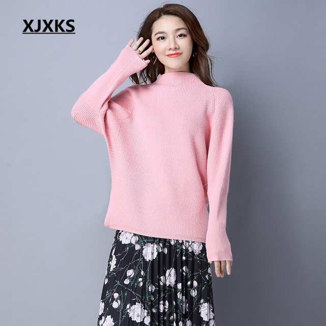 XJXKS Turtleneck Sweaters New Selling Loose Batwing Sleeve Cashmere Ladies  Clothing Women Pullovers Sweater 7 Colors 44f12f79d