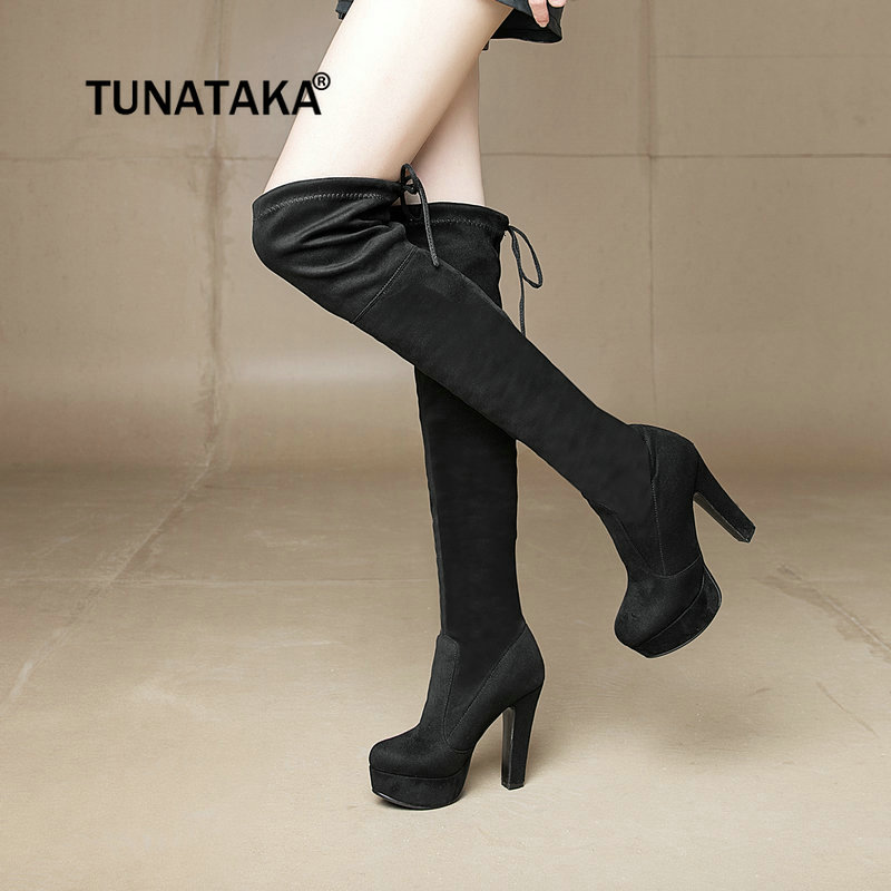 Faux Suede Chunky High Heel Over The Knee Boots Fashion Platform Lace Up Winter Thigh Boots Plus Size Women Shoes