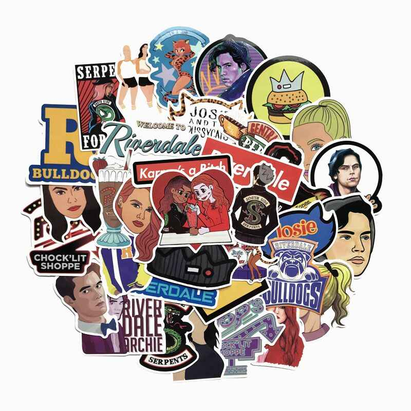 35 Pcs U.S. Drama Riverdale Cartoon Mixed Series Stickers For Notebook PC Skateboard Bike Motorcycle DIY Waterproof Toy Sticker
