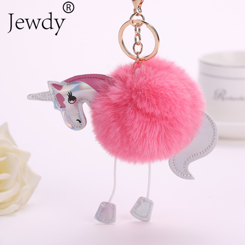 Unicorn pom keychain Artificial pompoms rabbit fur ball pompon key chain women bag car keyring porte clef holder fluffy pom pom straw clutch bag with pom pom