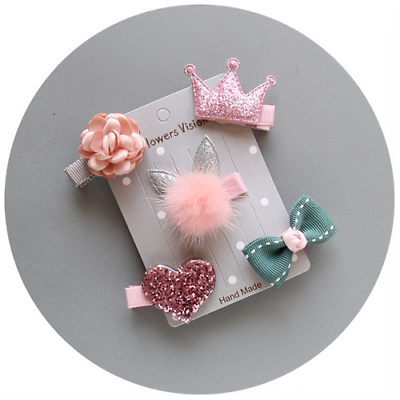 5Pcs Mixed Cartoon Styles Baby Kids Girls Hairpin Hair Clips Jewelry Decor Gift