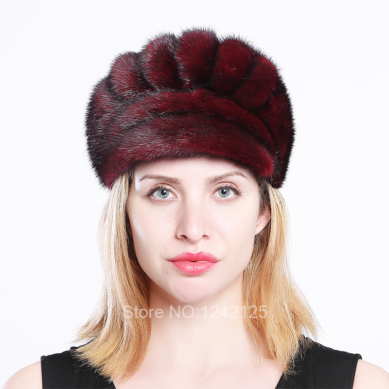 New Autumn winter women lady kids cute luxurious real Mink fur hat girl female genuine mink fur hats cap hats warm Baseball Caps hm039 real genuine mink hat winter russian men s warm caps whole piece mink fur hats