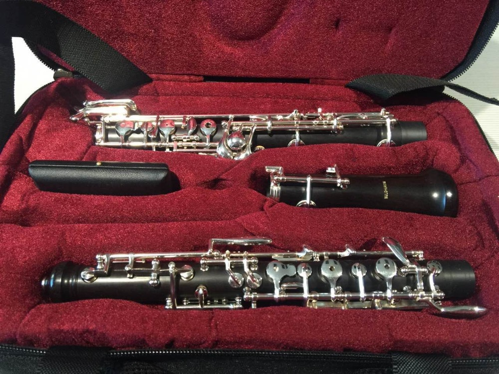 New Bulgheroni 901 Professional Ebony C Key Oboe Cupronickel Plated Silver Instrument With Reed Leather Case