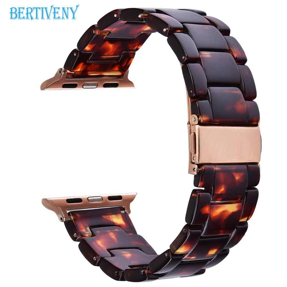 Resin Bracelet For Apple watch band 38mm/42mm/40mm/44mm Women&Men Stainless Steel Buckle Watch Strap for iwatch Series 4 3 2 1