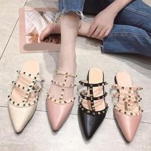 купить Women Flat Slippers Slip On Mules Fashion Luxury Rivet Punk T-strap Slides Loafers PU Leather Sandals Summer Elegant Shoes Hot по цене 921.97 рублей