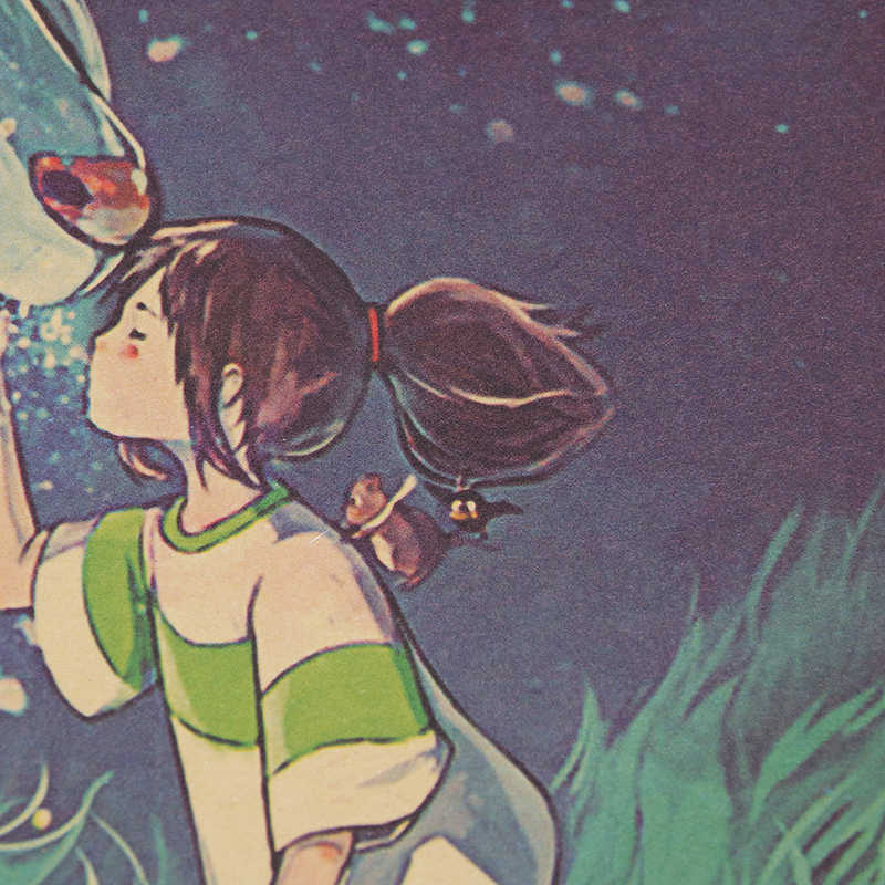DLKKLB ที่มีชื่อเสียง Hayao Miyazaki อะนิเมะ Spirited Away โปสเตอร์กระดาษคราฟท์ Bar Home Decor โปสเตอร์ภาพตกแต่งสติ๊กเกอร์ติดผนัง