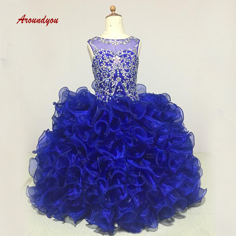 Royal Blue Luxury   Flower     Girl     Dress   for Party and Weddings Crystals Pageant First Holy Communion   Girls     Dress   for   Girls   Gown 2019