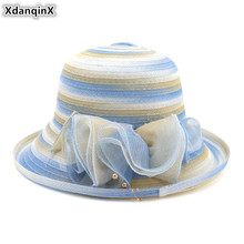 XdanqinX Summer Breathable Cap Oversized Sun Visor Bucket Hats For Women Elegant Fashion Novelty Yarn Adult Womens Beach Hat