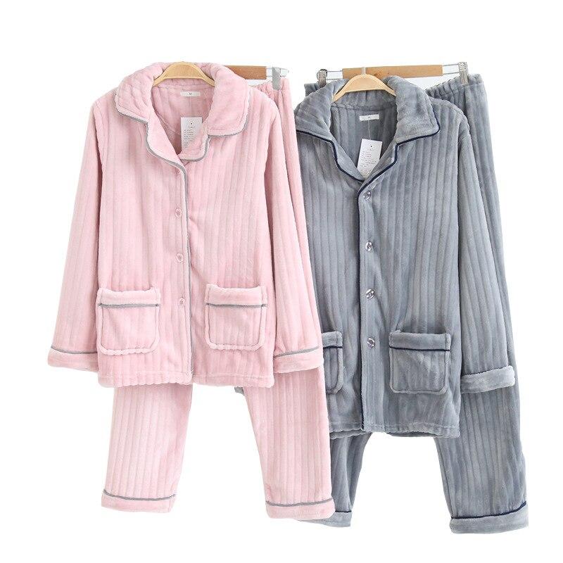 Automne et hiver nouveau pyjama Couple à rayures en flanelle hommes et femmes garder au chaud Pijama Mujer vêtements de nuit complet couture grande taille pyjama ensemble