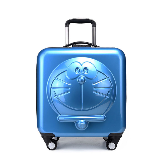 New Children Doraemon Cartoon Luggage 3D Stereo Machine Cat Luggage Universal Wheels Trolley Luggage Bag