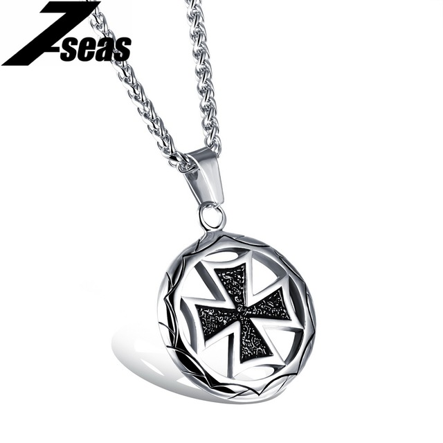Classical round cross design mans pendant necklaces fashion classical round cross design mans pendant necklaces fashion stainless steel silvergold color jewelry necklace aloadofball Images
